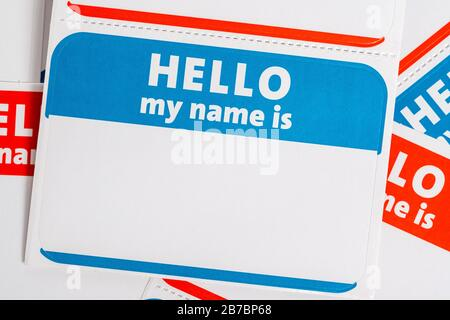 Hola mi nombre es nombre insignia papel aticker