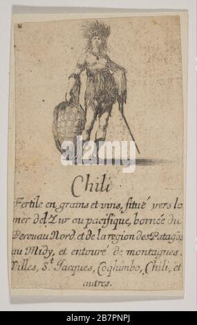 Chile, del 'Juego de Geografía' (Jeu de la Géographie), 1644. Foto de stock