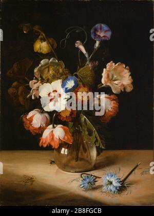 'Flores en un jarrón de cristal; en inglés: 1671 pinturas óleo sobre lienzo de madera: 19 x 14 pulg. (48,26 x 35.63 cm); enmarcada: 25 x 20 x 2 1/2 in. (63.5 x 52.07 x 5.08 cm) de regalo del Sr. y la Sra. Carter (Edward William M.2009.106.4) la pintura europea actualmente en vista pública: Ahmanson edificio, piso 3; 1671fecha QS:P571,+1671-00-00T00:00:00Z/9; '