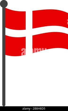 ondulado dinamarca bandera vector ilustración con asta de bandera aislada en blanco