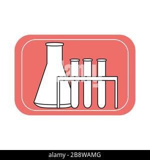 Icono de matraces de vidrio de laboratorio y tubos de ensayo. Experimentos químicos y biológicos. Ilustración vectorial en estilo plano.