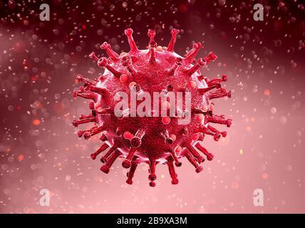 Vista microscópica del coronavirus, un patógeno que ataca el tracto respiratorio. Covid-19. Análisis y ensayo, experimentación. SRAS