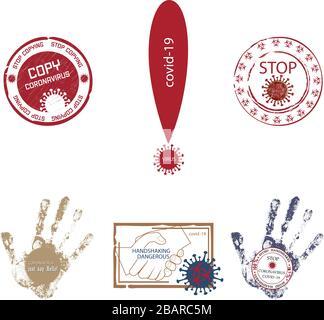 Conjunto de sellos e iconos sobre el tema del coronavirus. Advertencias sobre peligro, recomendaciones con texto, abstenerse de sacudir las manos