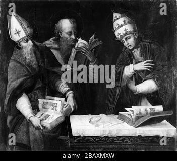 Marco Cardisco (italiano, ca. 1486-1542). 'San Agustín, Jerónimo y Gregorio el Grande', siglo 16. Aceite en panel. Walters Art Museum (37.1147): Adquirido por Henry Walters con la Colección Massarenti, 1902.