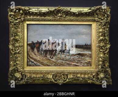 Pintura '1814. Campagne de France' del pintor clasicista francés Ernest Meissonier (1864), en exposición en el Musée d'Orsay de París, Francia. Foto de stock