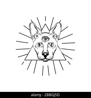 Gato de providencia en triángulo aislado sobre fondo blanco. Elemento para pagano, magia oculta, halloween o tema de brujería. Foto de stock