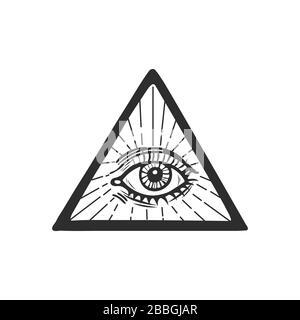 Ojo de providencia en el centro de la ilustración vectorial del triángulo. Elemento para pagano, magia oculta, halloween o tema de brujería. Foto de stock