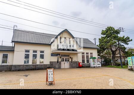 Estación Onuma-Koen. Una estación de tren en la línea principal JR Hokkaido Hakodate en la ciudad de Nanae. Hokkaido, Japón
