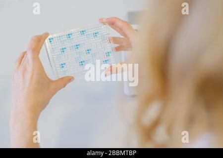Brunswick, Alemania. 1 de abril de 2020. La científica Katharina Kleilein utiliza una reacción de color en el laboratorio de la empresa de ciencias biológicas Yumab para comprobar si los anticuerpos de una placa Elisa se han ligado a un antígeno. La empresa de puesta en marcha realiza investigaciones sobre el desarrollo de anticuerpos humanos y, por lo tanto, está tratando de desarrollar fármacos contra Covid-19. Crédito: OLE Spata/dpa/Alamy Live News