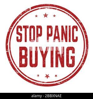 Deje de pánico comprar grunge sello de goma sobre fondo blanco, ilustración vectorial