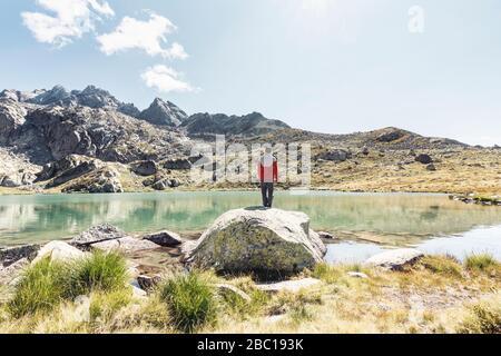 Vista trasera de un joven en una roca con vistas a un lago de montaña