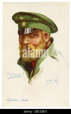 Postal histórica francesa: retrato de un soldado de infantería del ejército ruso imperial, un hombre guapo con una gran barba rubia y bigote, wwi