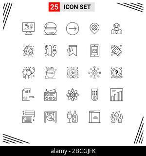 25 concepto de línea para sitios web móviles y aplicaciones padre, mapa, comida, ubicación, engranaje elementos de diseño vectorial editables