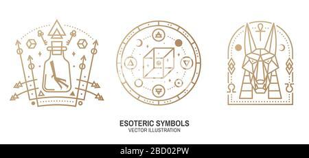 Símbolos esotéricos. Vector. Insignia geométrica de línea fina. Icono de contorno para alquimia, geometría sagrada. Diseño místico y mágico con matraz de química con pie de cuervo, dios egipcio Anubis, cubo geométrico irreal