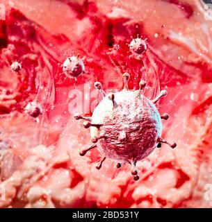 Vista microscópica del coronavirus, un patógeno que ataca el tracto respiratorio. Covid-19. Análisis y pruebas, experimentación. Infección viral.