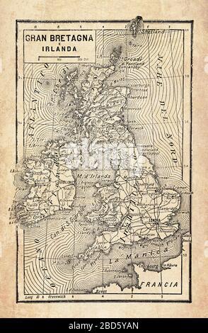 Mapa antiguo de las islas de Gran Bretaña e Irlanda en el Océano Atlántico Norte con el archipiélago de las Islas Británicas, con nombres geográficos italianos y descripciones