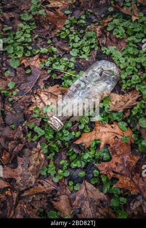 Contaminación plástica en la naturaleza. Basura plástica que contamina las escenas naturales. Se toma para difundir la conciencia sobre los daños ambientales.