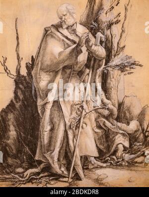 'Santo barbudo en un bosque' (c. 1516) por Matthias Grünewald (1470-1529) anteriormente atribuido a Albrecht Dürer (1471-1528).la tiza negra, aumentada.