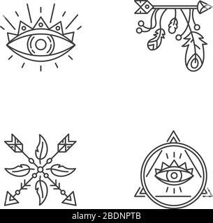 Símbolos mágicos píxeles perfecto conjunto de iconos lineales. Ojo de providencia, misterioso talismán. Símbolos de contorno de línea fina personalizables. Vector aislado