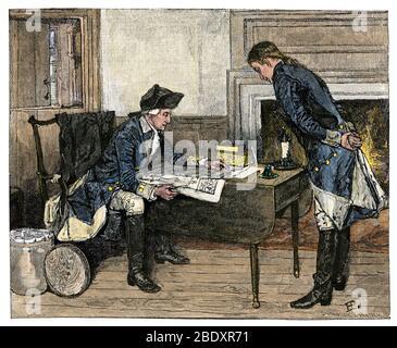 Nathan Hale recibe órdenes de George Washington, Revolución Americana. Corte de madera de color manual de una ilustración de Howard Pyle