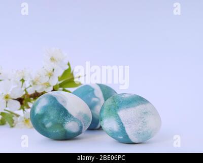 Huevos de Pascua coloreados con un color natural de col roja sobre un fondo blanco con espacio en blanco decorado con flores de primavera primer plano.