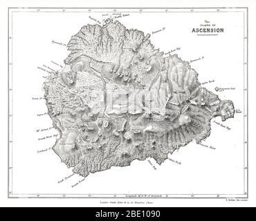 """Mapa de la isla de Ascensión de las observaciones geológicas de Charles Darwin sobre las islas volcánicas y partes de Sudamérica visitadas durante el viaje de H.M.S. """"Beagle"""". edición 2d. Londres: Smith Elder and Co., 1876. La Isla Ascensión es una isla volcánica aislada en las aguas ecuatoriales del Océano Atlántico Sur, a unos 1,600 kilómetros (1,000 mi) de la costa de África y a 2,250 kilómetros (1,400 mi) de la costa de Sudamérica, que está aproximadamente a medio camino entre el cuerno de América del Sur y África."""