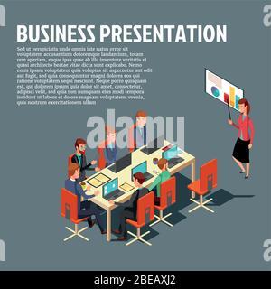 Presentación de negocios isométrica, reunión, informe financiero ilustración plana con texto de muestra sobre fondo gris. Vector Diseño moderno para sitios web, banners web, infografías, materiales impresos