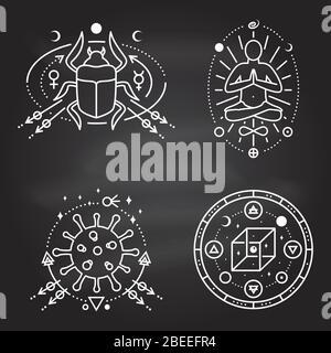 Símbolos esotéricos. Vector. Placa geométrica de línea fina en la pizarra. Icono de contorno para alquimia, geometría sagrada. Diseño mágico y místico con hombre en yoga lotus pose, escarabajo escarabajo, coronavirus, cubo