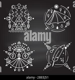Símbolos esotéricos. Vector. Placa geométrica de línea fina en la pizarra. Icono de contorno para alquimia, geometría sagrada. Diseño místico y mágico con ala de murciélago, plumas, estrellas, planetas, portal a otro mundo
