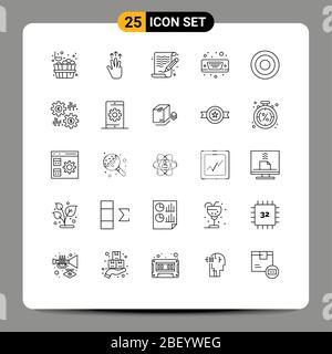 25 concepto de línea para sitios web interfaz móvil y aplicaciones, vga, arte, puerto, mostrar elementos de diseño vectorial editables