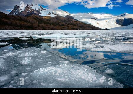 Glaciar Fernando en el fiordo Calvo en el borde del Canal Sarmiento en el Parque Nacional Bernardo o'Higgins en la Patagonia, Chile, fiordos cerca de Puerto Natales