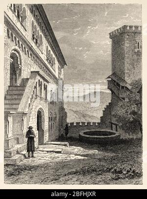 Ciudad medieval de Warburg, Renania del Norte-Westfalia. Turingia, Alemania, Europa. Viaje en Turingia, norte de Alemania 1869 por Arsene Legrelle