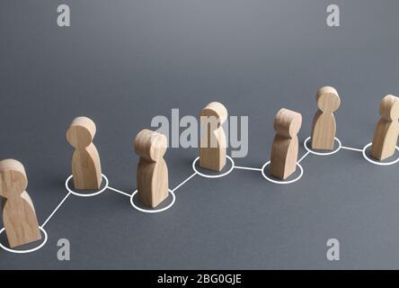 Cadena de personas conectadas por líneas. Cooperación, colaboración. Enlaces de comunicación. Rumor difundiéndose en la sociedad pública. Asociación, unidad, asistencia