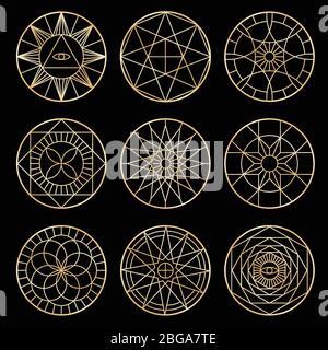 Pentagramas geométricos esotéricos. Símbolos espirituales sagrados de vectores místicos. Pentagrama esotérico sagrado geométrico estilo ine ilustración
