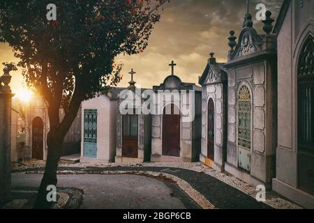 Fila de criptas familiares al atardecer en el cementerio Prazeres de Lisboa, Portugal