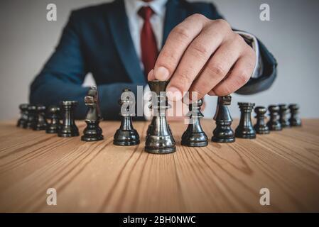 concepto de juego de tablero de ajedrez para ideas y competencia y estrategia, concepto de éxito de negocios.