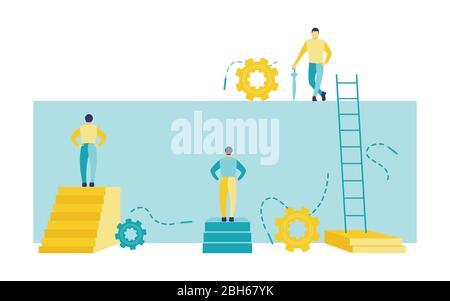Ilustración vectorial plana de un concepto de negocio, dos hombres frente a una pared y el otro en una pared que sostiene un paraguas. Tres hombres de negocios con obstáculo.