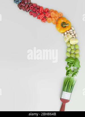 Dieta saludable equilibrada, concepto de pinceladas, paleta de colores, grupos de alimentos, incluyendo frutas, verduras, frutos secos y granos Foto de stock
