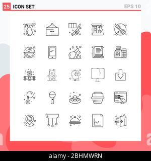 25 concepto de línea para webs máquina de aplicaciones y móviles, café, promoción, electrodomésticos, música elementos de diseño vectorial editables