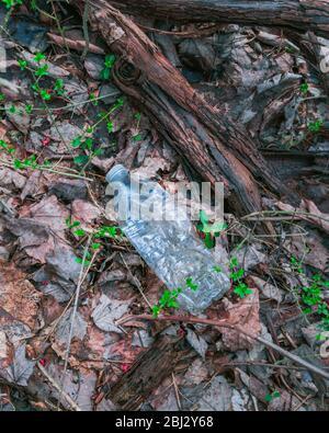 Contaminación plástica en la naturaleza - se tomaron imágenes para difundir la conciencia de la crisis ambiental en el mundo.