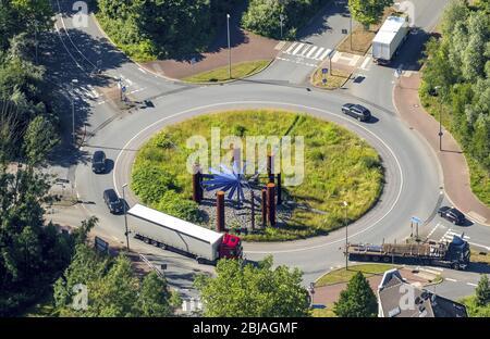 Rotonda Stahlhalla en la calle Heussner, Kohlenstreet en Bochum, 23.06.2016, vista aérea, Alemania, Renania del Norte-Westfalia, Ruhr Area, Bochum