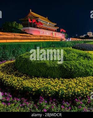 La Tiananmen, Puerta de la Paz Celestial, entrada al Museo del Palacio (Ciudad Prohibida) en Beijing, China Foto de stock