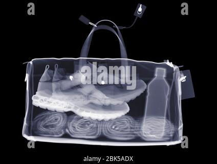 Bolsa deportiva con toalla para entrenadores y agua, rayos X.