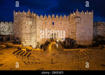 Puerta de Damasco al atardecer en Jerusalén, Israel