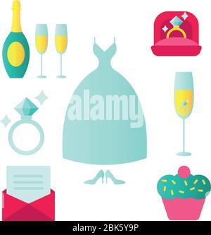 Conjunto de iconos de boda en estilo plano con una invitación o carta de amor boda vestido comida pastel de champán regalo iglesia anillos joyería zapatos.