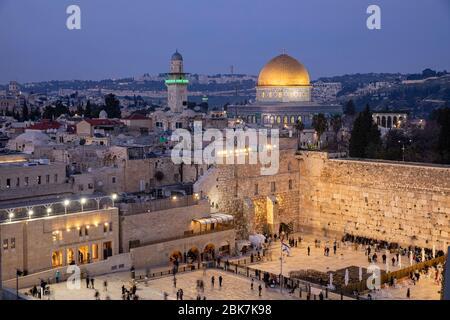 Muro occidental en la Ciudad Vieja de Jerusalén, Israel