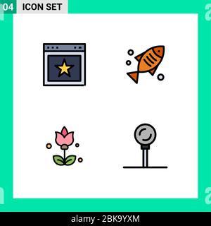 Interfaz de Usuario Pack de 4 básico Filledline Flat colores del artículo, flores, sitio web, alimentos, cocina elementos editables de diseño vectorial Foto de stock