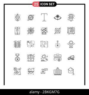 25 concepto de línea para sitios web planta de aplicaciones y móviles, luz, fuente, innovación, concepto elementos de diseño vectorial editables