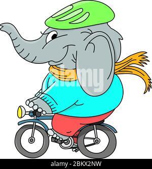Elefante de dibujos animados con un sombrero y una bufanda que monta una ilustración vectorial de bicicleta