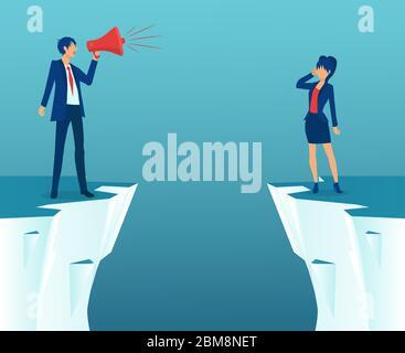 Concepto de brecha de género y desigualdad en las empresas. Vector de un hombre de negocios gritando en megáfono y una empresaria que se encuentra en la brecha.